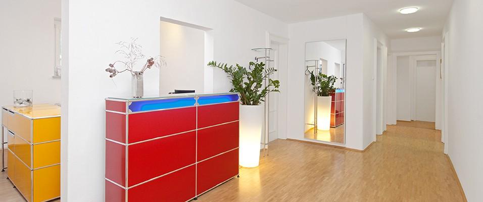Eingangsbereich, Zahnarztpraxis Ascher, München Bogenhausen